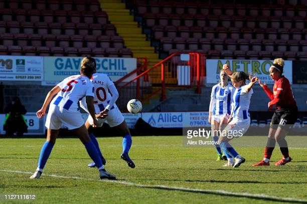 Lauren James of Manchester United scores her team's first goal during the SSE Women's FA Cup Fourth Round match between Brighton Hove Albion Women...