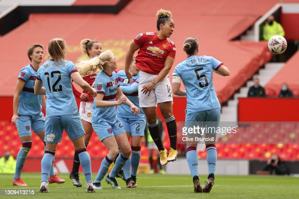 Lauren James of Manchester United scores her team's first goal during the Barclays FA Women's Super League match between Manchester United Women and...