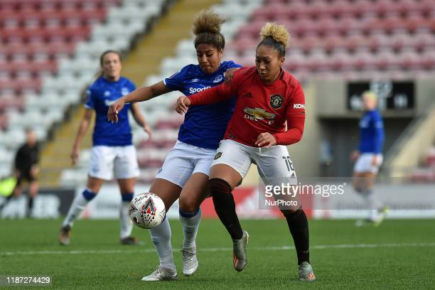 Lauren James of Manchester United Women and Gabrielle George of Everton Women in action during the Barclays FA Women's Super League match between...