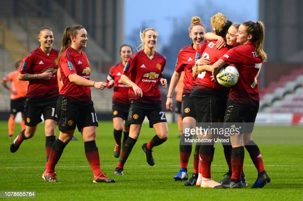Lauren James of Manchester United Women celebrates scoring their seventh goal goal during the FA Women's Championship match between Manchester United...
