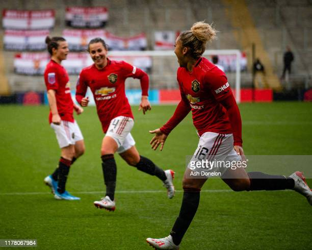 Lauren James of Manchester United Women celebrates scoring their first goal during the Barclays FA Women's Super League match between Manchester...