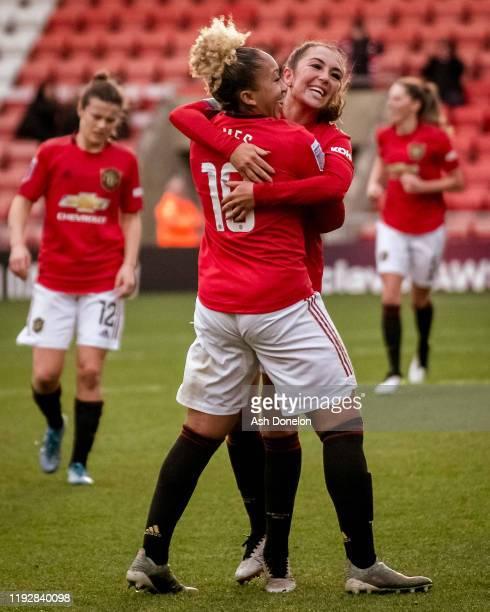 Lauren James of Manchester United Women celebrates scoring their third goal during the Barclays FA Women's Super League match between Manchester...