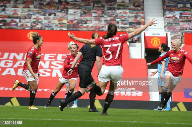 Lauren James of Manchester United Women celebrates scoring their first goal during the Barclays FA Women's Super League match between Manchester...