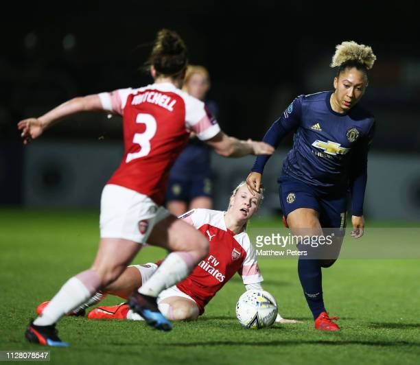 Lauren James of Manchester United Women in action during the FA WSL Cup SemiFinal match between Arsenal Women and Manchester United Women at Meadow...