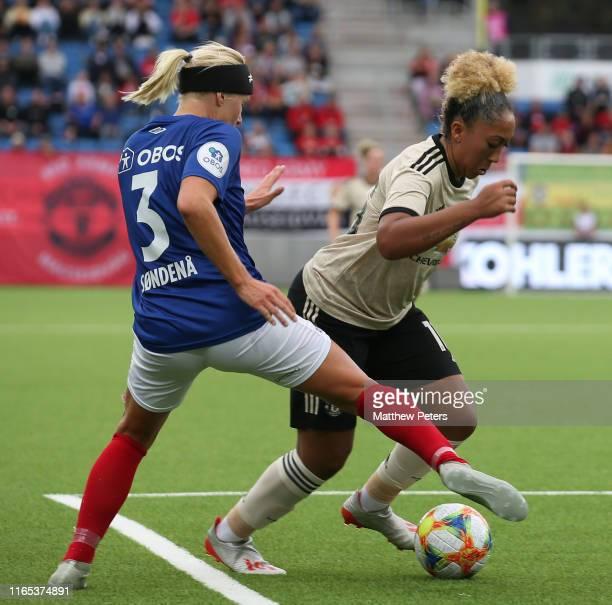 Lauren James of Manchester United Women in action during the preseason friendly match between Valerenga and Manchester United Women at Intility Arena...