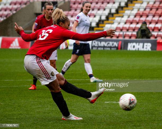 Lauren James of Manchester United Women scores their first goal during the Barclays FA Women's Super League match between Manchester United and...