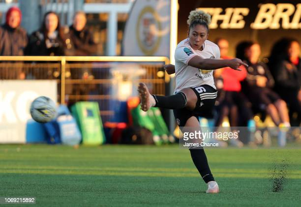 Lauren James of Manchester United Women shoots during the FA Women's Championship match between Crystal Palace and Manchester United at Hayes Lane on...