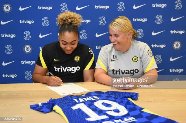 Lauren James poses for a photograph with Emma Hayes, Manager of Chelsea as she signs for Chelsea FC Women at Kingsmeadow on July 23, 2021 in Kingston...