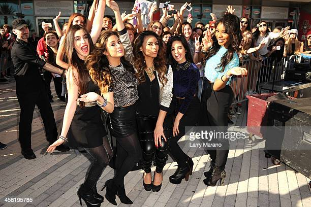 Lauren Jauregui Ally Brooke Dinah Jane Hansen Camila Cabello and Normani Kordei of Fifth Harmony attend Y100's PreShow at the Jingle Ball Village on...