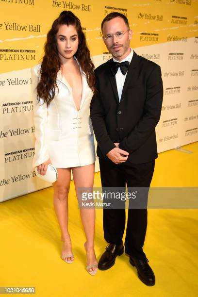 Lauren Jauregui and Daniel Arsham pose on the Yellow carpet at the Yellow Ball hosted by American Express and Pharrell Williams at the Brooklyn...