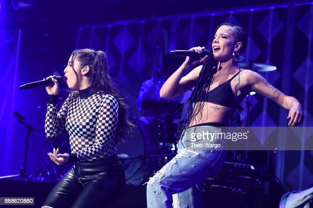 Lauren Jauregui and Halsey perform at Z100's Jingle Ball 2017 on December 8 2017 in New York City