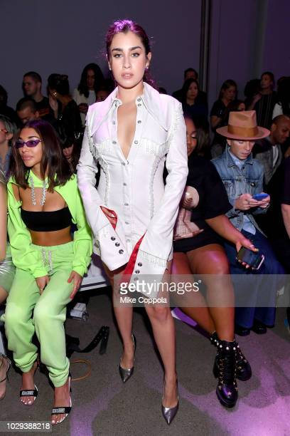 Lauren Jauregui attends the Christian Cowan Front Row during New York Fashion Week The Shows at Gallery II at Spring Studios on September 8 2018 in...