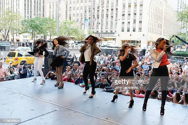 Lauren Jauregui Camila Cabello Dinah Jane Hansen Ally Brooke Hernandez and Normani Hamilton of Fifth Harmony perform during FOX Friends outside of...