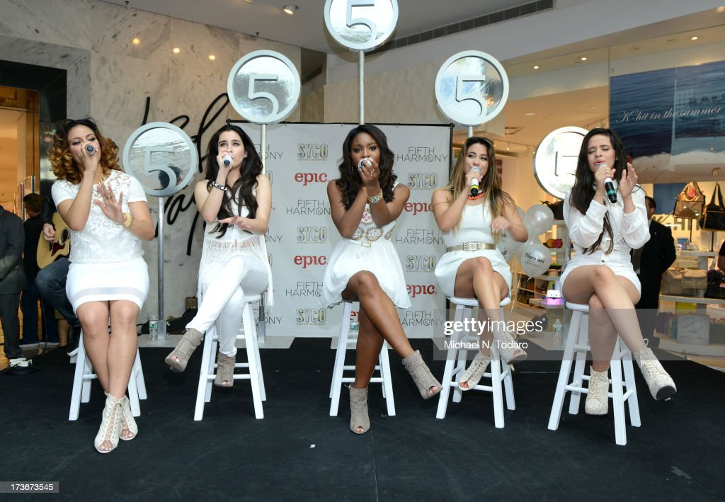 Lauren Jauregui, Camila Cabello, Dinah Jane Hansen, Normani Hamilton and Ally Brooke Hernandez of Fifth Harmony peform at Garden State Plaza on July 16, 2013 in Paramus, New Jersey.