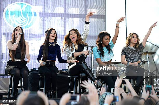 Lauren Jauregui Camila Cabello Dinah Jane Hansen Normani Kordei Ally Brooke of Fifth Harmony perform at Y100's PreShow at the Jingle Ball Village on...