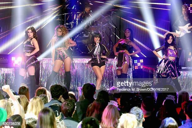 Lauren Jauregui Dinah Jane Hansen Ally Brooke Normani Hamilton and Camila Cabello of Fifth Harmony perform at Dick Clark's New Year's Rockin' Eve...