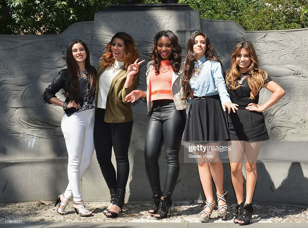Lauren Jauregui, Dinah Jane Hansen, Normani Hamilton, Camila Cabello and Ally Brooke Hernandez of Fifth Harmony visit Madison Square Park on August 5, 2013 in New York City.
