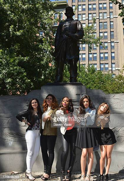 Lauren Jauregui Dinah Jane Hansen Normani Hamilton Camila Cabello and Ally Brooke Hernandez of Fifth Harmony visit Madison Square Park on August 5...