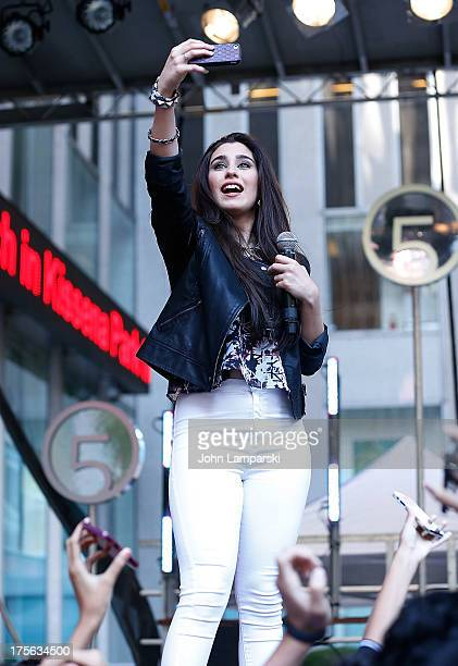 Lauren Jauregui of Fifth Harmony performs during FOX Friends outside of FOX Studios on August 5 2013 in New York City