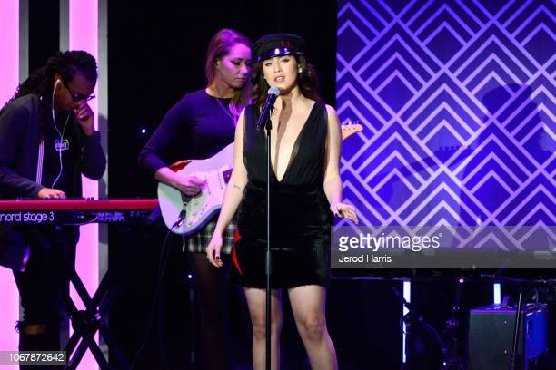 Lauren Jauregui performs onstage at the Trevor Project's TrevorLIVE LA 2018 at The Beverly Hilton Hotel on December 3 2018 in Beverly Hills California