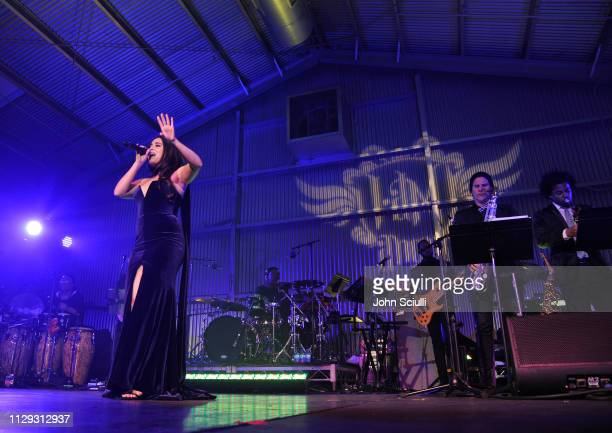 Lauren Jauregui performs onstage at william Hosts 8th Annual iam angel Foundation TRANS4M Gala Honoring Quincy Jones on February 12 2019 in Los...