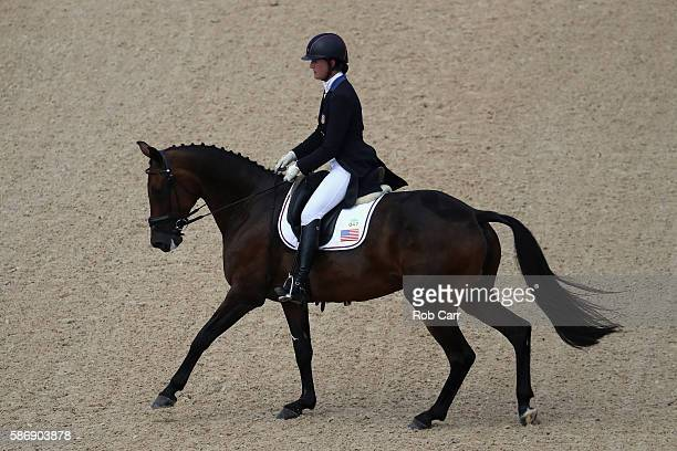 Lauren Kieffer of the United States riding Veronica competes in the Eventing Team Dressage event during equestrian on Day 2 of the Rio 2016 Olympic...