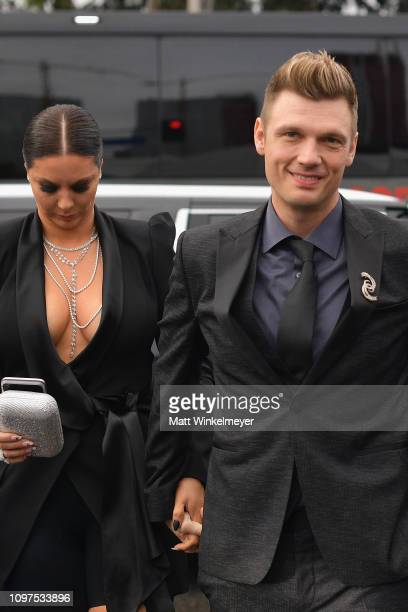Lauren Kitt and Nick Carter attend the 61st Annual GRAMMY Awards at Staples Center on February 10 2019 in Los Angeles California