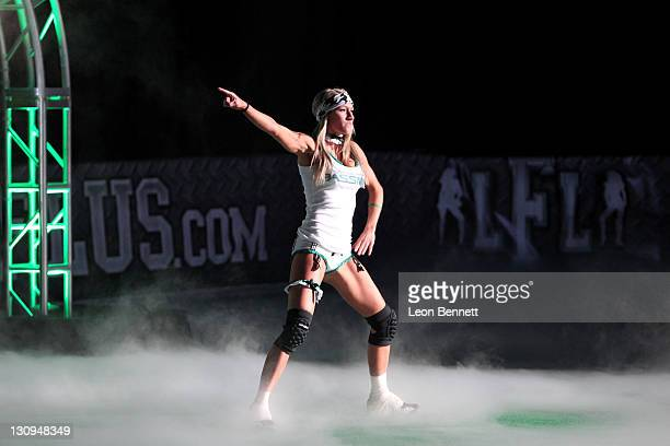 Lauren LaBella of the Philadelphia Passion during introduction at the Lingerie Football League's Lingerie Bowl VIII at the Thomas & Mack Center at...