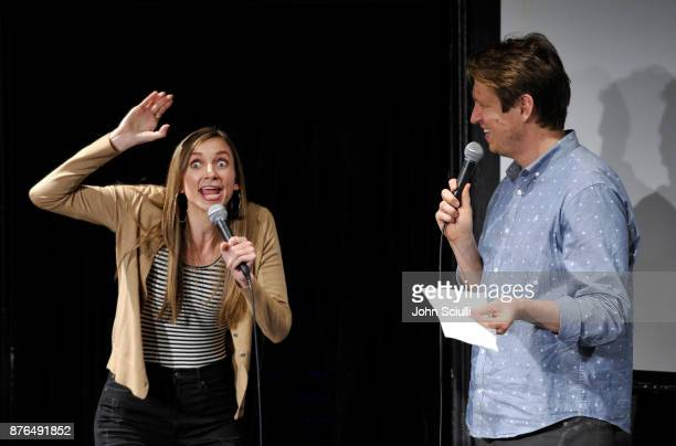 "Lauren Lapkus and Pete Holmes speak onstage at Comedians You Should & Will Know hosted By Pete Holmes and the cast of HBO's ""Crashing"" during Vulture..."