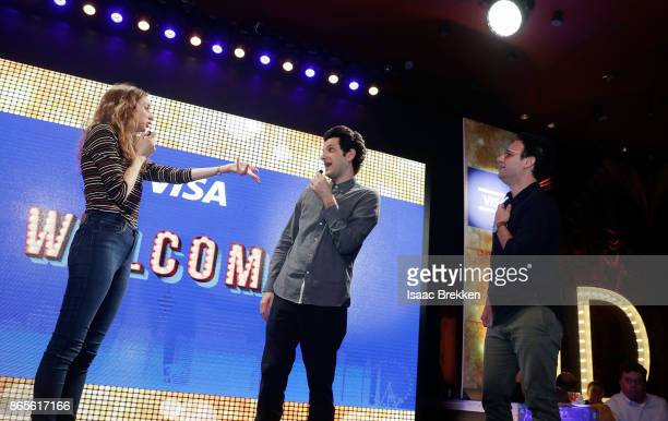 Lauren Lapkus Ben Schwartz and Gil Ozeri perform during the Visa ID Intelligence launch party at Money 20/20 on October 23 2017 in Las Vegas Nevada