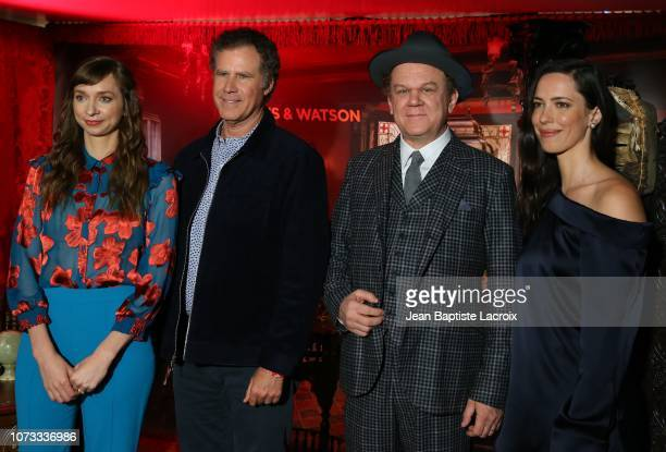 Lauren Lapkus Will Ferrell John C Reilly and Rebecca Hall attend a photo call for Holmes Watson on December 14 2018 in Los Angeles California