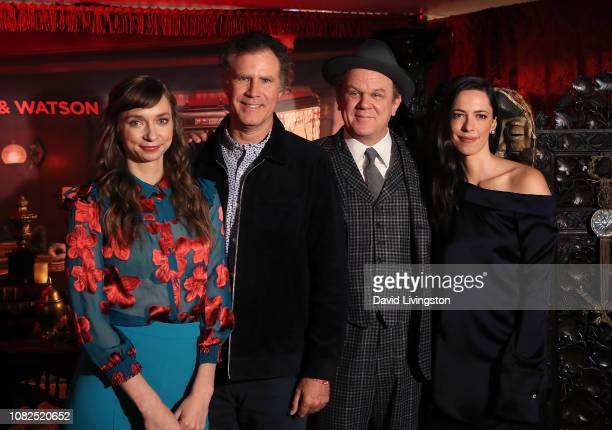 Lauren Lapkus Will Ferrell John C Reilly and Rebecca Hall attend the Holmes Watson photo call at The London West Hollywood on December 14 2018 in...