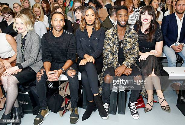 Lauren Laverne, Marvin Humes, Rochelle Humes, Tinie Tempah and Daisy Lowe attend the Xiao Li AW 2016 Collections show presented by Mercedes-Benz at...