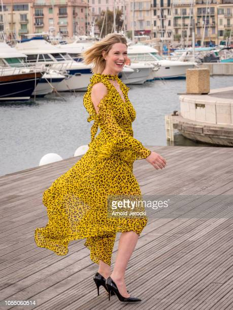 "Lauren Lee Smith attend the ""Frankie Drake Mysteries"" photocall as part of the MIPCOM 2018 on October 15, 2018 in Cannes, France."