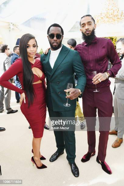 Lauren London Diddy and Nipsey Hussle attend 2019 Roc Nation THE BRUNCH on February 9 2019 in Los Angeles California