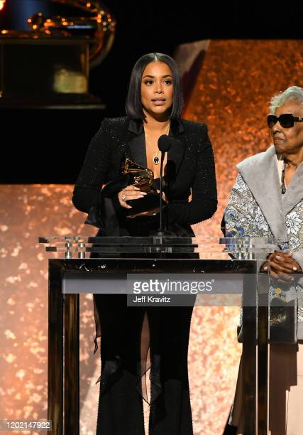 Lauren London widow of the late rapper Nipsey Hussle accepts Best Rap Performance for Racks in the Middle onstage during the 62nd Annual GRAMMY...