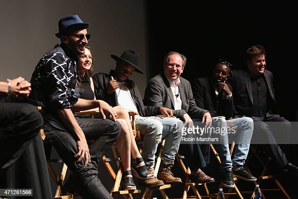 JR Lauren Lovette Charles Riley Hans Zimmer Ladj Ly and Benjamin Wallfisch attend Tribeca Talks After The MovieLes Bosquets during the 2015 Tribeca...