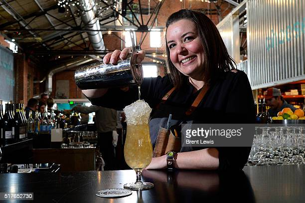 Lauren Lowe pours a drink at the RiNo Yacht Club on March 25 2016 in Westminster Colorado Lowe has been selected as one of the top bartenders in...