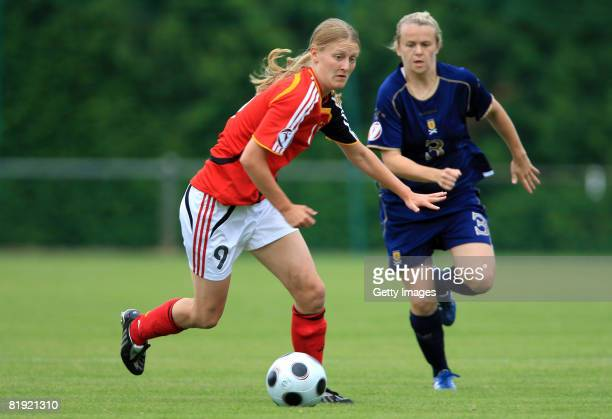 Lauren MacMillan of Scotland and Marie Pollmann of Germany during the Women's U19 European Championship match between Scotland and Germany at the...