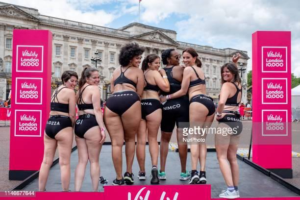Lauren Mahon Giovanna Fletcher Shareefa Radford Anna Harding Nimco Ali Andrea McLean Deborah James during the Vitality London 10K in London United...