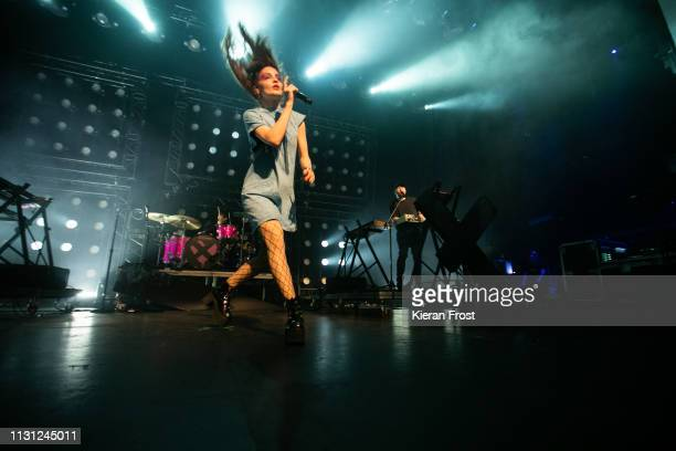 Lauren Mayberry and Martin Doherty of CHVRCHES at perform at the Olympia Theatre on February 21 2019 in Dublin Ireland