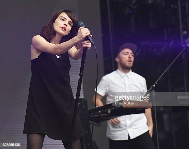 Lauren Mayberry and Martin Doherty of Chvrches performs during Music Midtown at Piedmont Park on September 17 2016 in Atlanta Georgia