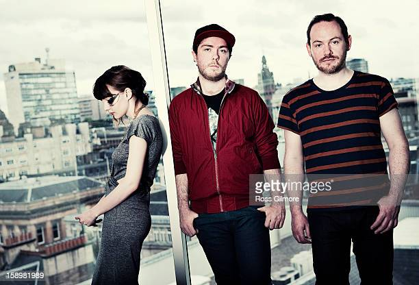 Lauren Mayberry Iain Cook and Martin Doherty of the band Chvrches pose during a portrait session at The Lighthouse on January 3 2013 in Glasgow...