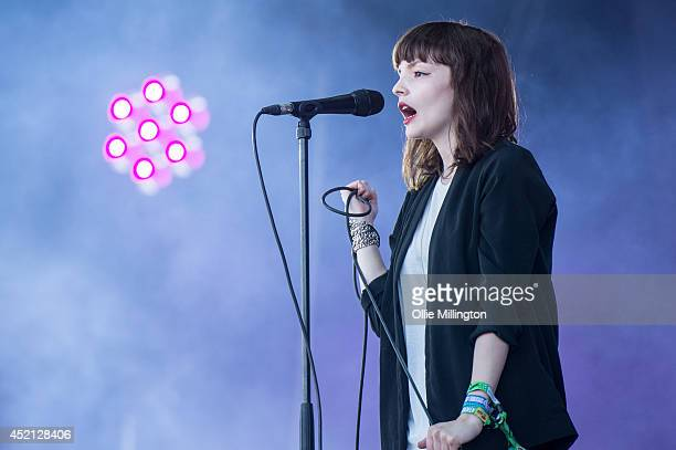 Lauren Mayberry of Chvrches peforms on the BBC Radio 1 stage at T in The Park on July 13 2014 in Kinross Scotland