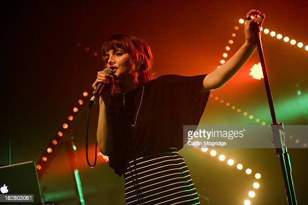 Lauren Mayberry of Chvrches perform on stage at Institute Of Contemporary Arts on February 27 2013 in London England