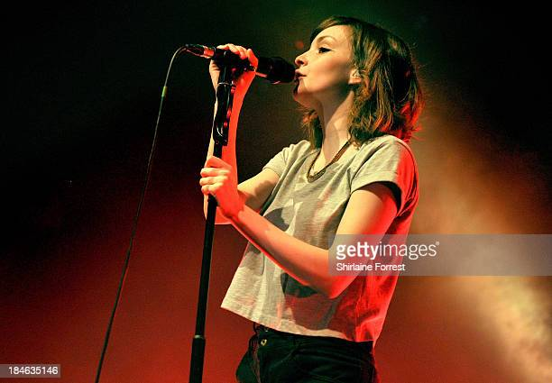 Lauren Mayberry of Chvrches performs a sold out show at The Ritz Manchester on October 14 2013 in Manchester England