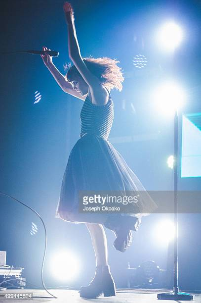 Lauren Mayberry of Chvrches performs at Alexandra Palace on November 27 2015 in London England