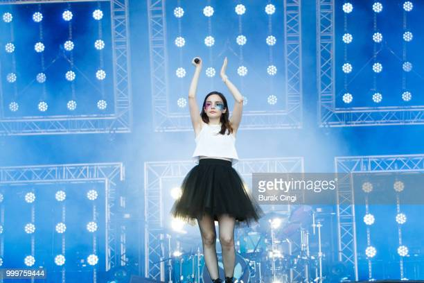 Lauren Mayberry of Chvrches performs at Citadel festival at Gunnersbury Park on July 15 2018 in London England