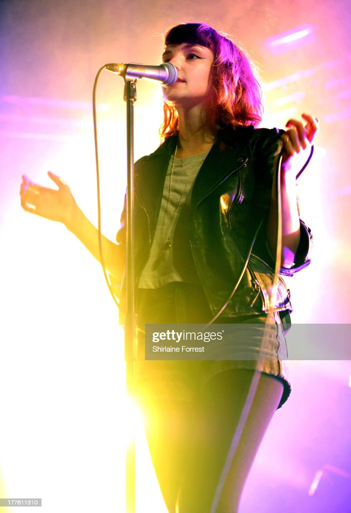 Lauren Mayberry of Chvrches performs at Day 2 of the Leeds Festival at Bramham Park on August 24, 2013 in Leeds, England.