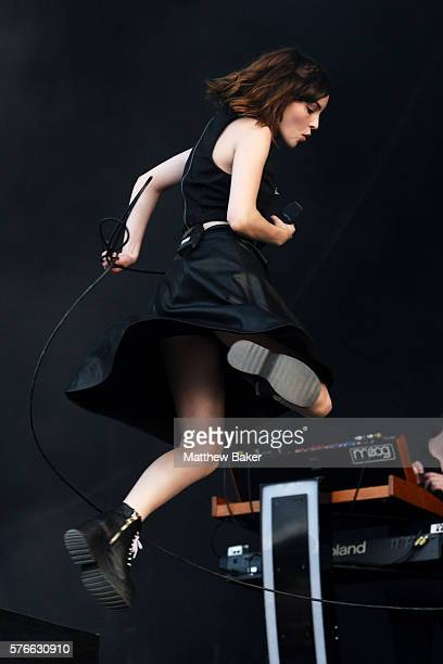 Lauren Mayberry of Chvrches performs at Latitude Festival at Henham Park Estate on July 16 2016 in Southwold England